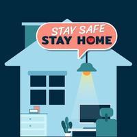 Bleib sicher zu Hause. Konzept der Arbeit von zu Hause aus zur Vorbeugung von Koronaviren.