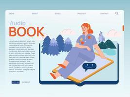 illustration koncept av kvinnor lyssnar ljudbok var som helst med hörlurar vektor
