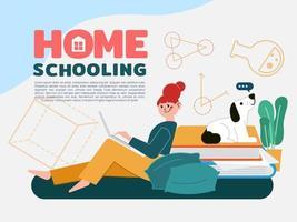 Mädchen sitzt zum Lernen und bekommt Bildung im Wohnzimmer zu Hause vektor