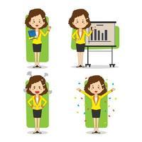 isolierter Geschäftsfrauen-Zeichensatz vektor