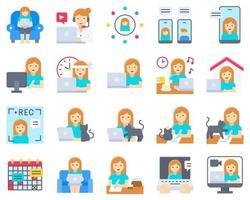 Arbeit von zu Hause aus Icon Set, weibliche Version