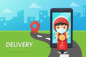 mobil leveransman på skoter med stadsbakgrund vektor