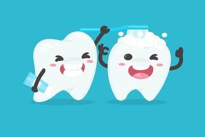 Zahn im Cartoon-Stil, der einen anderen Zahn putzt vektor