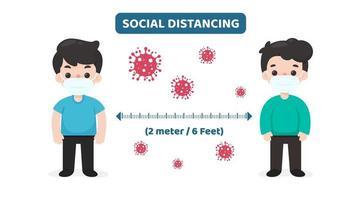 Zeichentrickfiguren mit Viruszellen, die soziale Distanzierung üben vektor