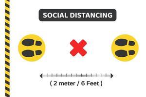 soziale distanzierende Fußmacher und Vorsichtsband vektor