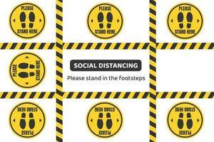 Vorsicht Band und Stehfläche soziale Distanzierung Design vektor