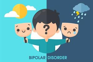 bipolarer Junge, der mit Masken mit verschiedenen Stimmungen hält