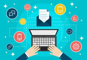 Free Flat Design Digital Marketing Concep Vektor