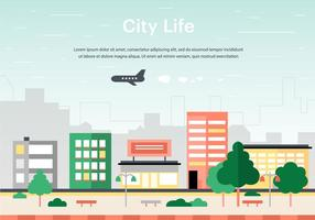 Gratis lägenhet Urban Landscape Vector Bakgrund