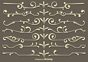 Vektor beige scrollwork-element