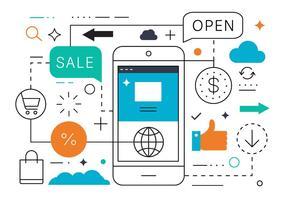 Gratis Flat Line Mobile Sale Vector