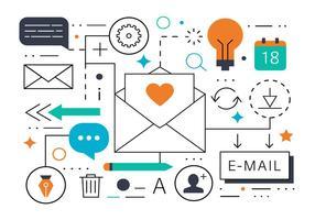 Kostenlose Flat Line Email und Kontakt Vector Illustration