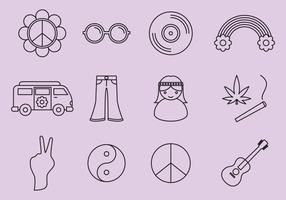 Hippie-ikoner vektor