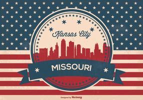 Retro Kansas City Missouri Skyline Illustration