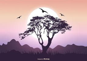 Landschaft Szene mit Baobab Baum vektor
