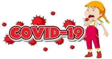 Covid 19 Zeichen mit krankem Mädchen vektor