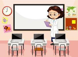 Klassenzimmerszene mit Lehrer vektor
