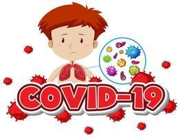 covid-19 med pojke och dåliga lungor vektor