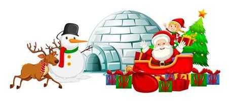 Weihnachtsmann auf Schlitten und andere Weihnachtsillustrationen
