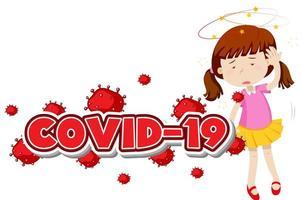 covid 19 teckenmall med sjuk flicka vektor