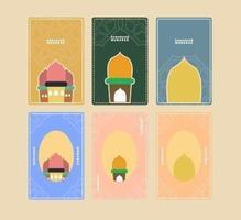 uppsättning ramadhan gratulationskort design vektor