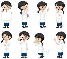 uppsättning av vetenskapsstudent i olika poser