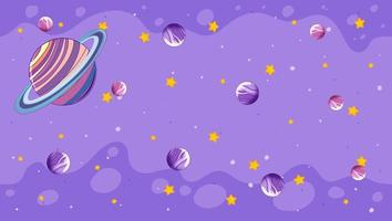 Planeten auf lila Hintergrund vektor