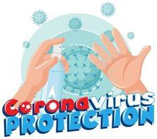 coronavirus-skydd genom att rengöra händerna vektor