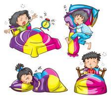 Mädchen und Jungen schlafen und wachen in ihren Betten auf