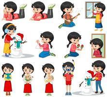 uppsättning av glad tjej som gör olika åtgärder vektor