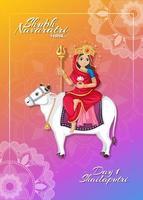 navarati festival affisch med gudinna vektor