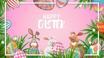 glada påskkaniner och målade ägg vektor