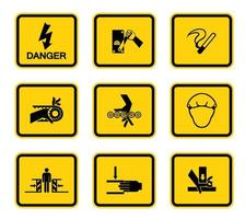 Warngefahrquadratsymbole beschriften Zeichen