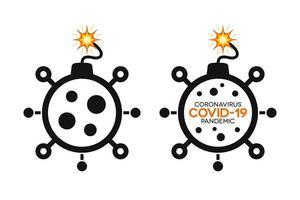enkla coronavirus bomb-ikoner med covid-19