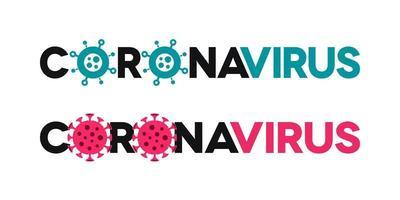 Coronavirus-Schriftzug mit Virensymbolen