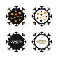 fläckig coronavirus covid-19 ikoner fyllda och skisserade