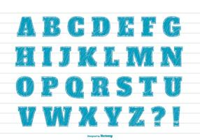 Blaue Marker-Stil-Alphabet-Set vektor
