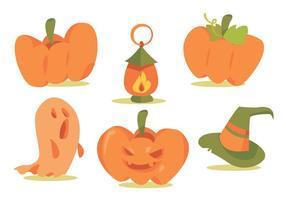 Halloween Kürbis Patch Vektor Set