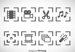 Videobearbeitung Icons Vector