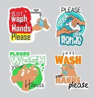 Bündel waschen Sie Ihre Handaufkleber vektor