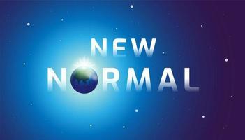 neue normale Typografie mit Erde als Buchstabe o vektor