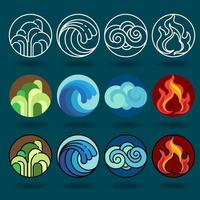 fyra element ikonuppsättning likgiltiga stilar vektor