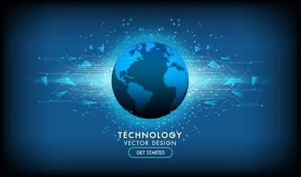 Technologiedesign mit leuchtenden Formen hinter dem Planeten vektor