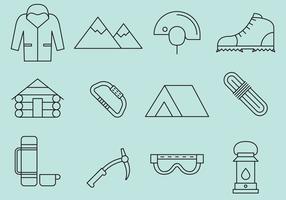 Bergsklättringslinje ikoner vektor