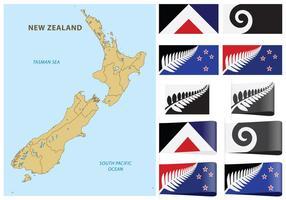 Neuseeland-Karte und Flaggen vektor