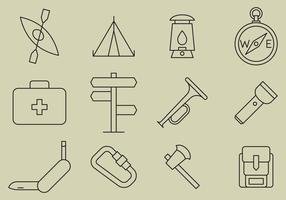Boyscout linje ikoner vektor