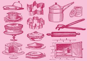 Vintage Desserts und Küchenwerkzeug-Vektoren