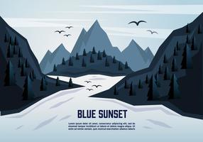 Blå landskaps illustration Vektor bakgrund