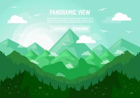 Grön Panoramisk Liggande Illustration Vektor Bakgrund