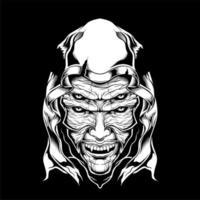 Dämon vier Augen Gesicht in der Haube vektor